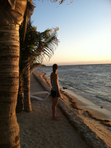 The quiet time on a beach when the sun is just rising. Hidden Beach Resort, Mexico.